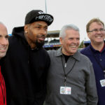 Vice Mayor Williams and Councilmembers Hall and Tande with Darnell Dockett of the Arizona Cardinals