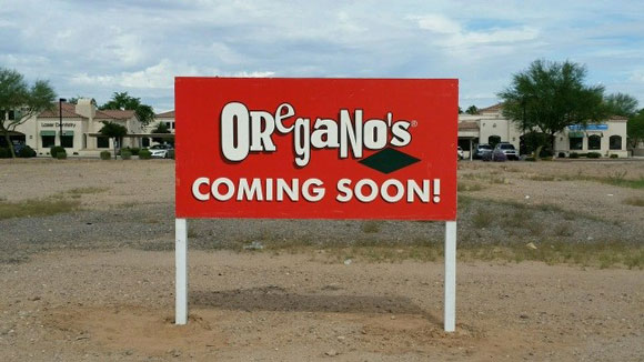 Oregano's coming soon sign