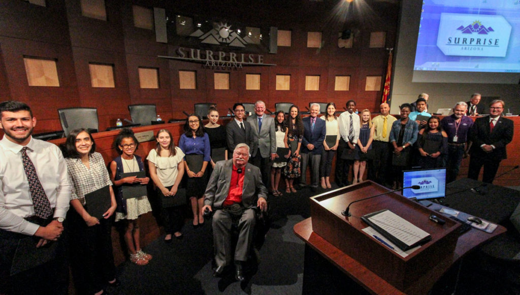 New SYC Members and City Council in Surprise City Hall Council Chambers.
