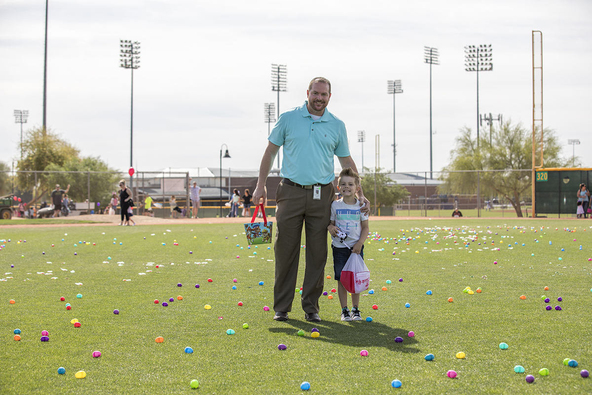 Councilman Duffy and son at the 2018 Eggstravaganza