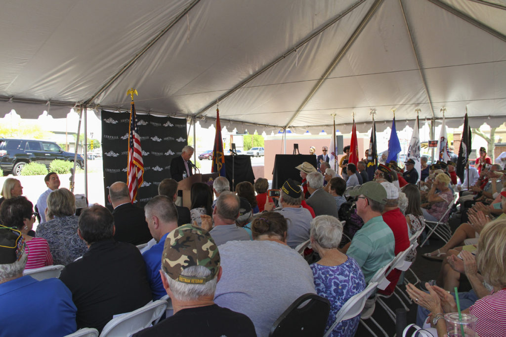 Mayor Hall speaking at Veterans Bridge renaming event