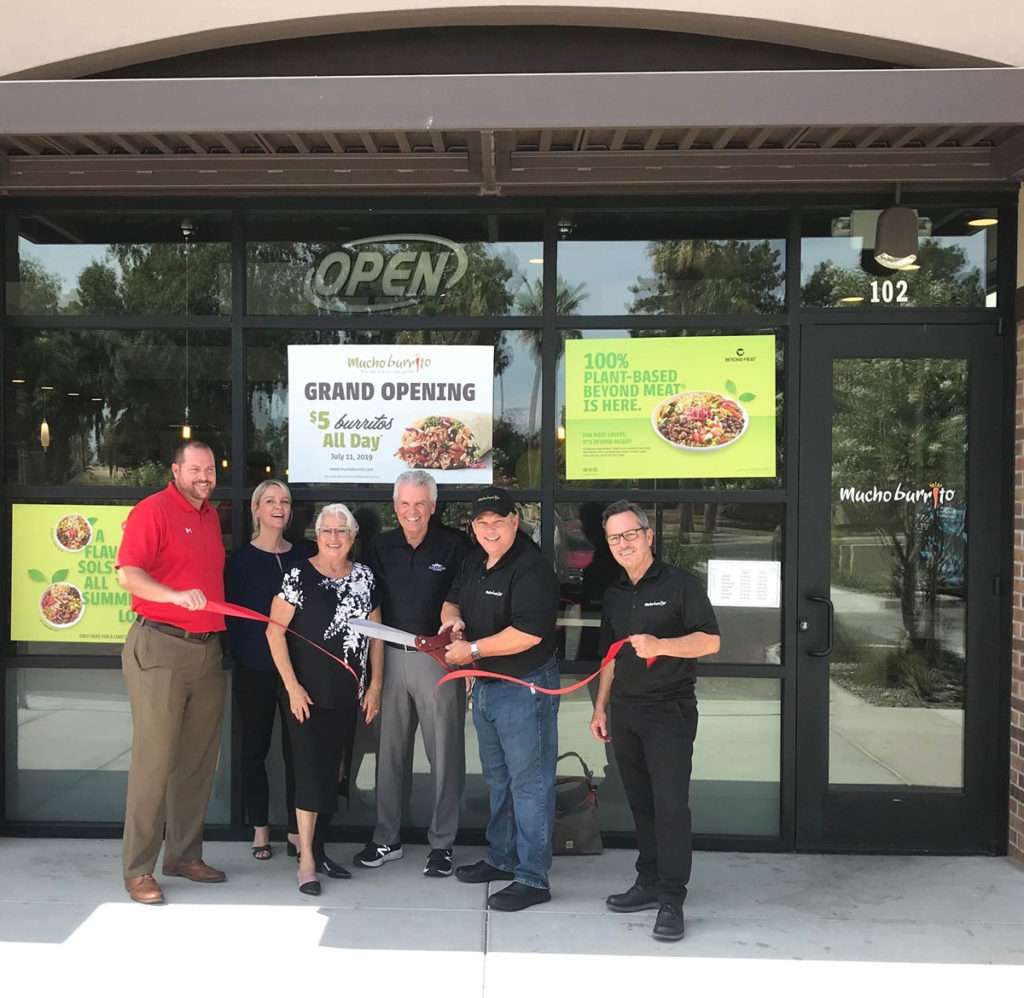 Mayor Hall and Councilmembers Duffy and Hayden attend the grand opening of Mucho Burrito.