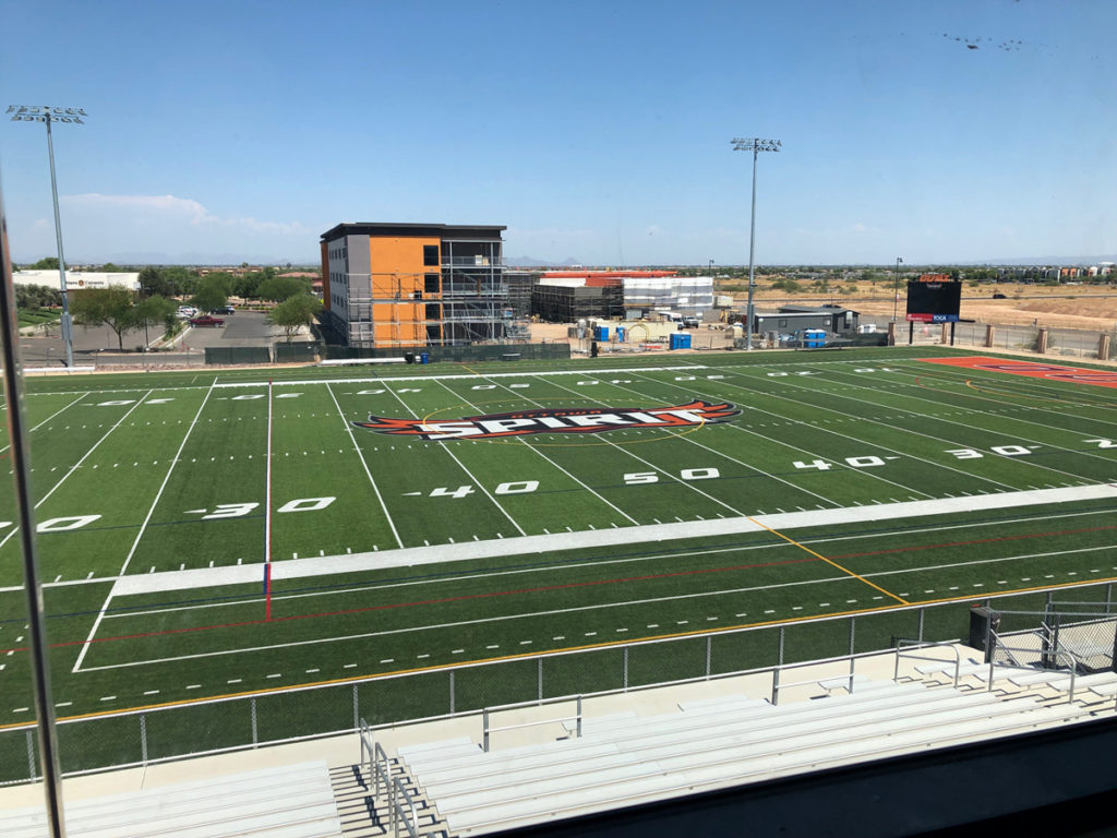A view of the Ottawa University field and dormitory from the O'Dell Center for Athletics.
