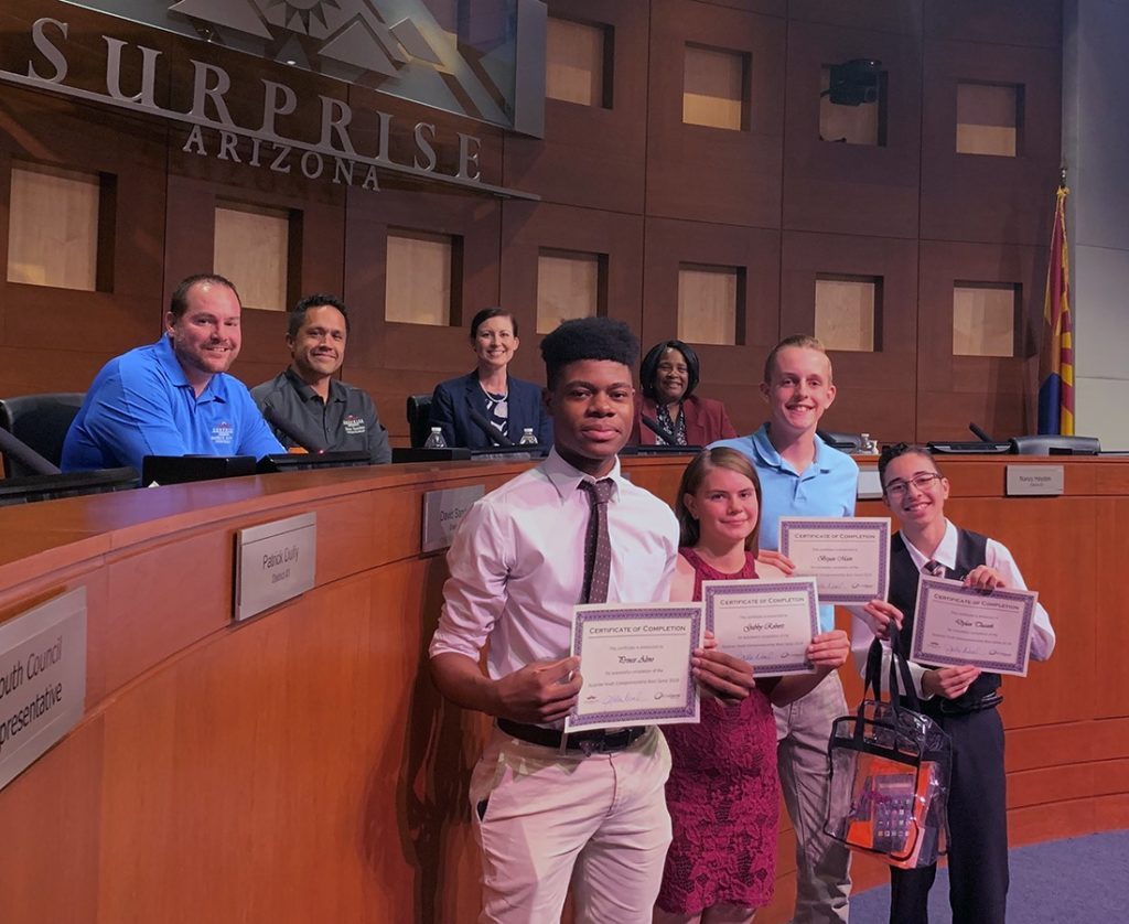 Participants of the AZ TechCelerator Surprise Youth Entrepreneurship Boot Camp display their certificates.