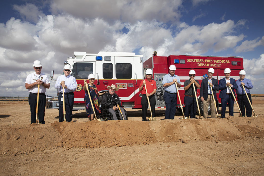 Mayor Hall and Surprise City Council hold shovels to break ground at the Fire Station 304 groundbreaking ceremony.