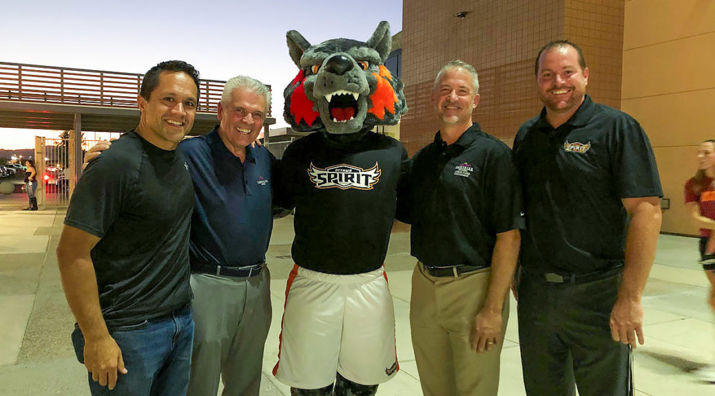 Mayor Hall and Councilmembers Sanders, Judd and Duffy with the Ottawa mascot at the first Ottawa football home game of the season.
