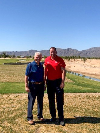 Mayor Hall and Councilmember Duffy at the Sterling Grove golf course.