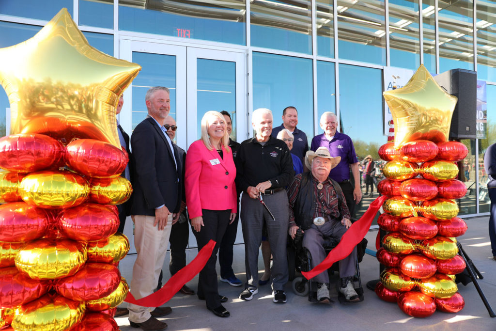 Mayor Hall, Congresswoman Debbie Lesko and Surprise City Councilmembers cut the grand opening ribbon at Asante Library.
