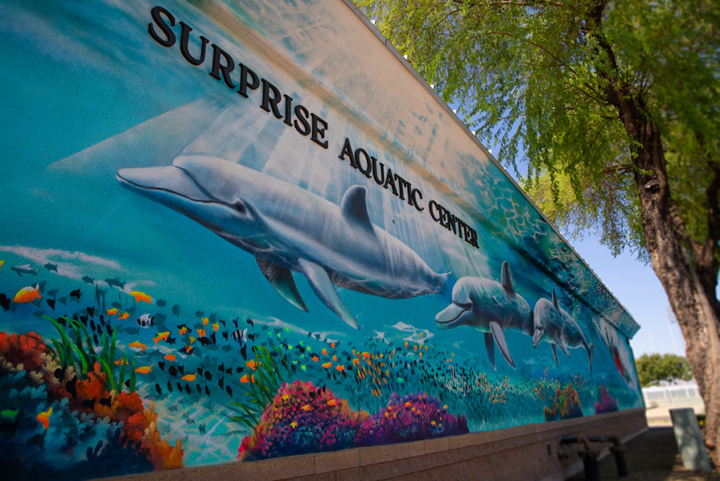 A painted mural of swimming dolphins.