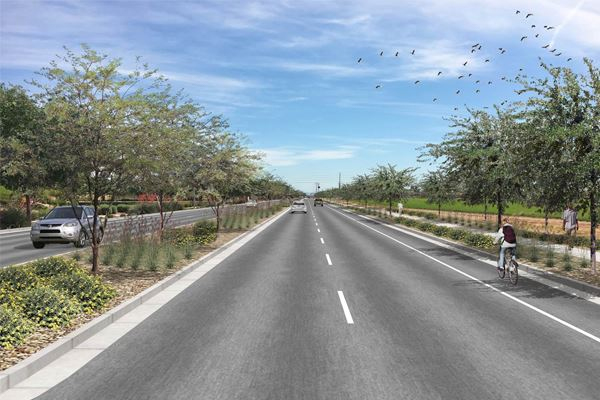 Artist rendering of a tree lined, double lane road.