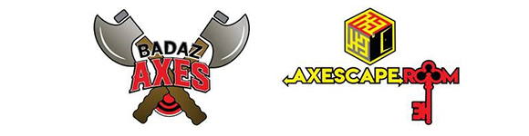 BadAz Axes and Axescape Room logos