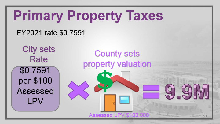 An infographic explaining primary property taxes.