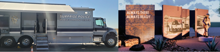 The Surprise Police mobile command unit and artwork at Firestation 304.